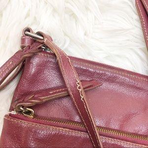Dooney & Bourke Bags - Dooney & Burke • Wine Leather Zip Crossbody Bag
